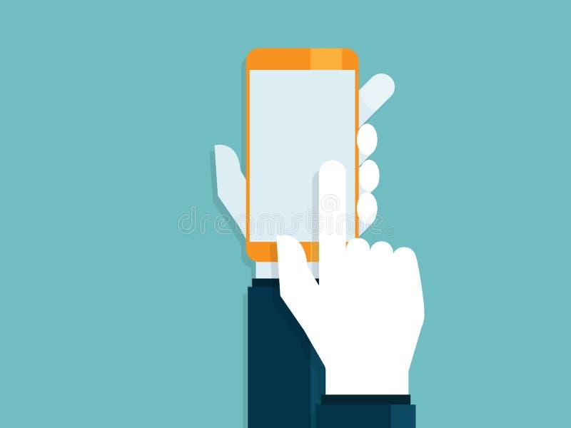 Illustration av människahänder med den rörande smartphonen vektor illustrationer