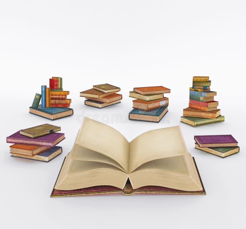 Illustration av många mång- kulöra böcker på vit bakgrund royaltyfri illustrationer