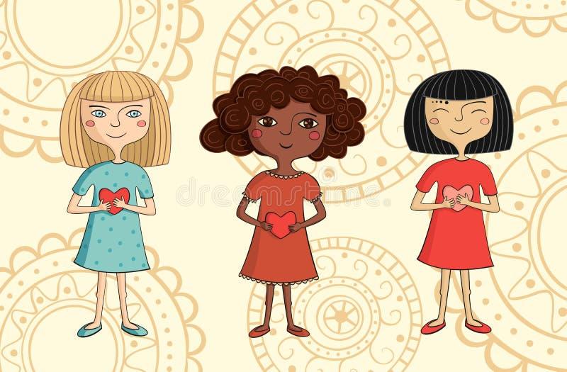 Illustration av mångkulturella flickor med hjärtor stock illustrationer