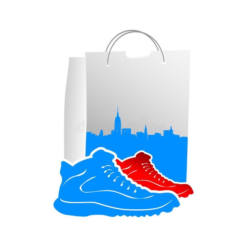 Illustration av manliga skor med påsar för vektordesignshopping royaltyfri illustrationer