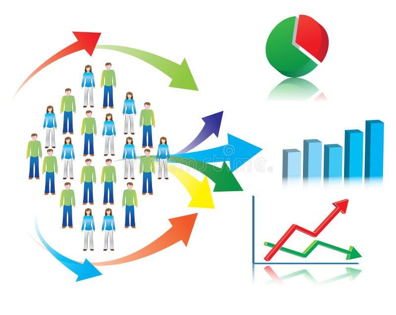 Illustration av marknadsforskning och statistik vektor illustrationer