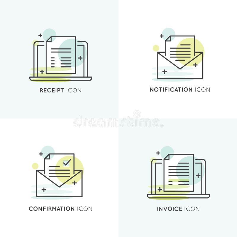Illustration av meddelandet, bekräftelseemailen, kvittot och fakturan stock illustrationer