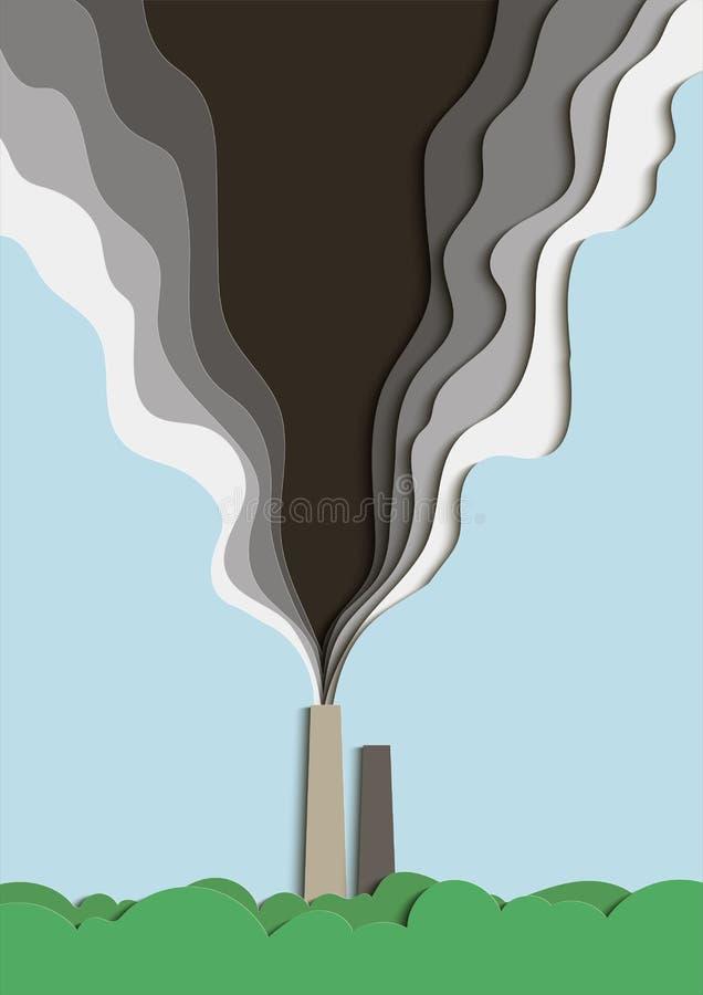 Illustration av miljöbelastning Förgiftad rök från ett fabriksrör förorenar luften vektor royaltyfri illustrationer