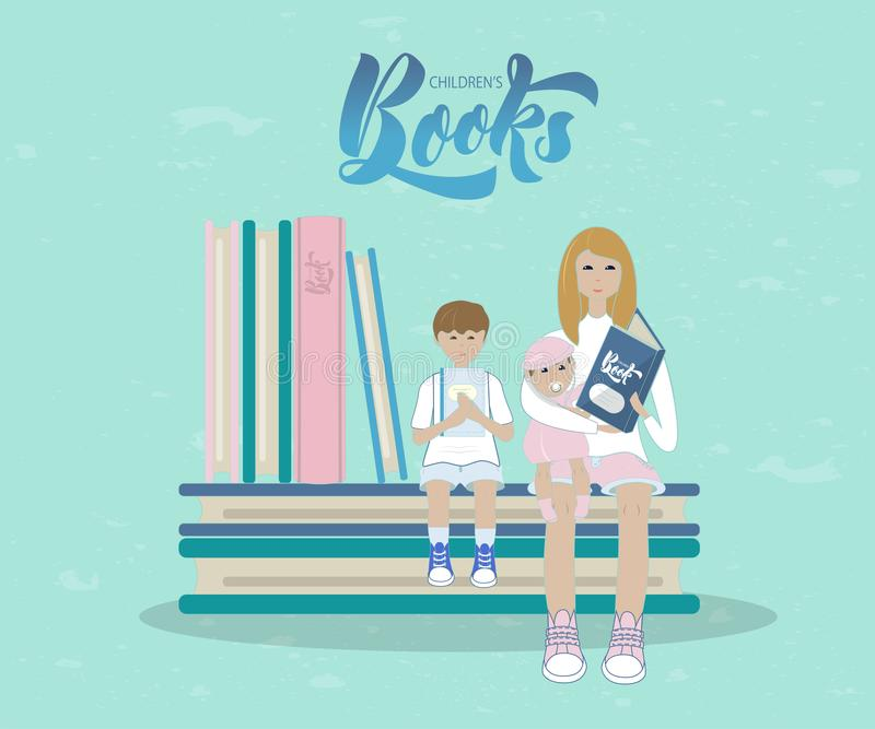Illustration av modern och barn med böcker Med inskriftbarns böcker royaltyfri bild