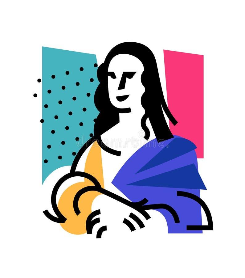 Illustration av Mona Lisa Symbol av Gioconda, konstnären Leonardo Davinci Logo av ett berömt arbete, tolkning Vektorlägenhet royaltyfri illustrationer