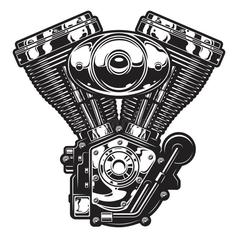 Illustration av motorcykelmotorn royaltyfri illustrationer