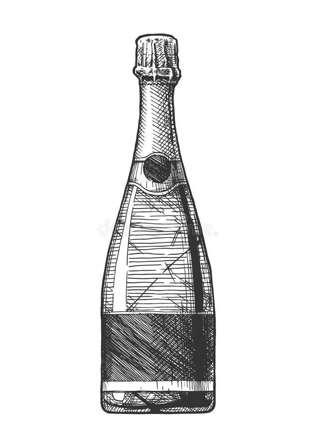 Illustration av mousserande vinflaskan vektor illustrationer