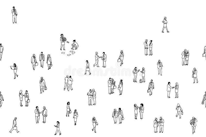 Illustration av mycket litet affärsfolk, sömlöst baner stock illustrationer