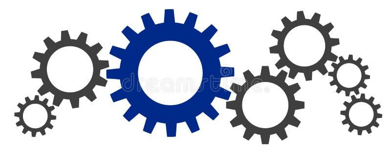 Illustration av några kugghjul royaltyfri illustrationer