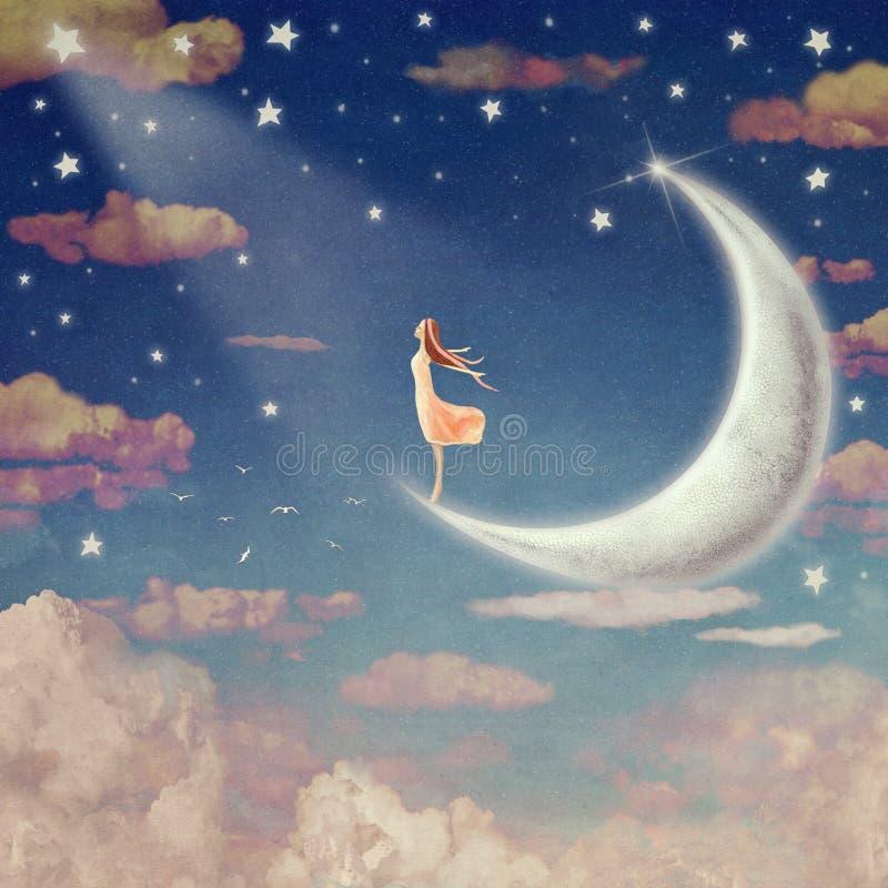 Illustration av natthimmel med moln, månen och stjärnor