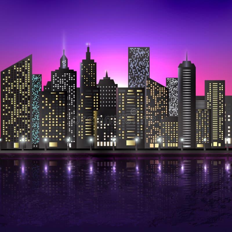 Illustration av nattplatsen av staden med upplyst byggnad vektor illustrationer