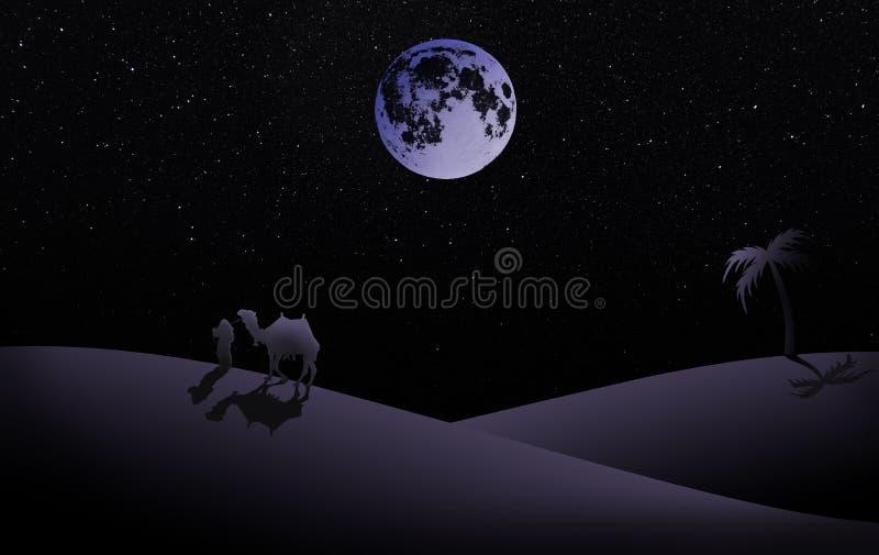 Illustration av nattplatsen med fullmånen i lilor, arkivfoton