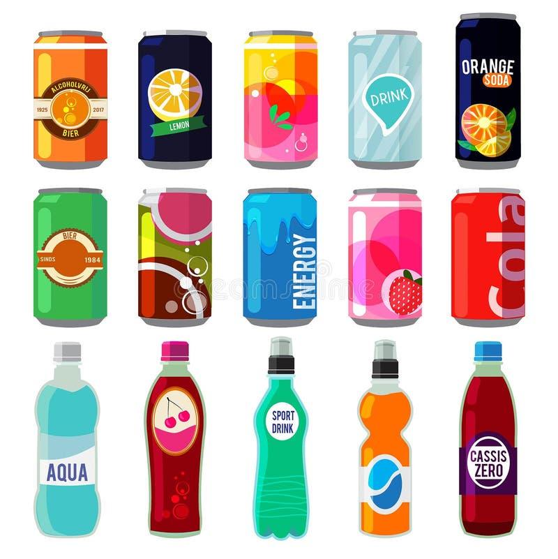 Illustration av olika drinkar i metalliska cans och flaskor Vektorbilder i retro stil royaltyfri illustrationer