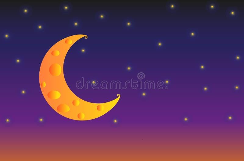 Illustration av ostmånen med stjärnor på bakgrund för natthimmel stock illustrationer
