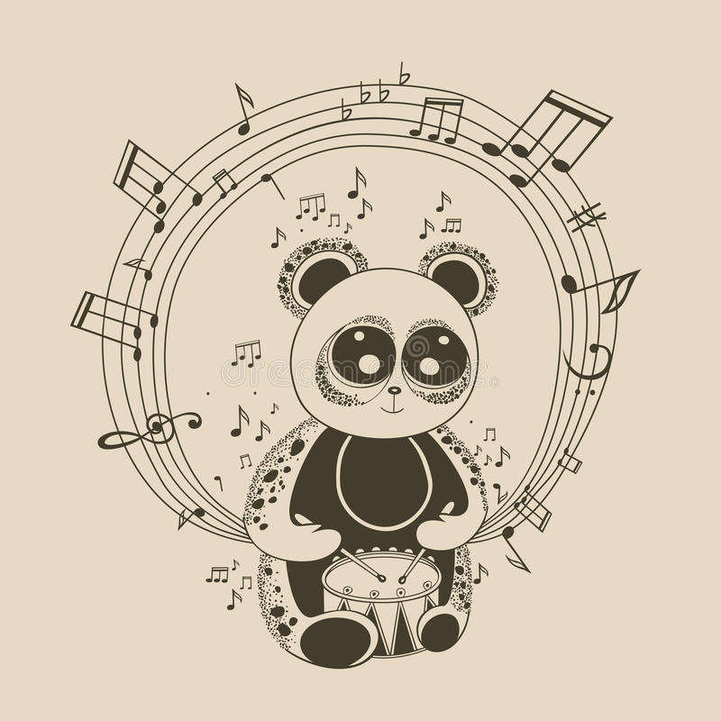Illustration av pandamusikern royaltyfri illustrationer