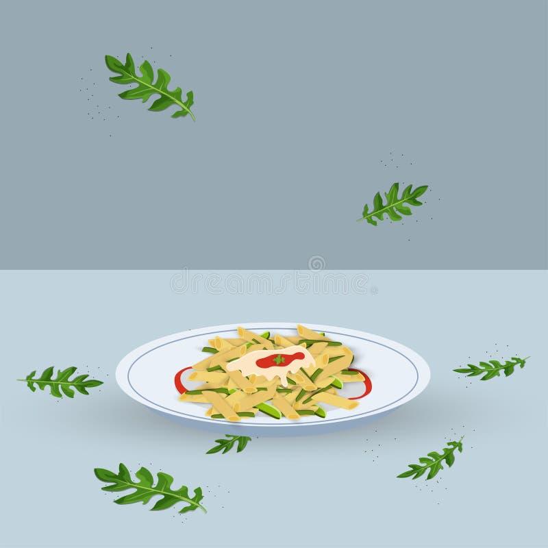 Illustration av pasta med röd sås vektor illustrationer