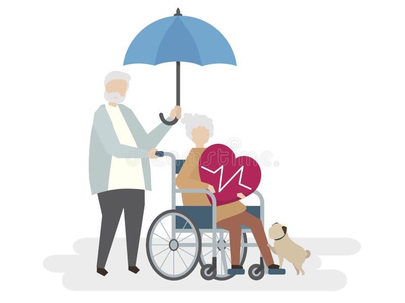 Illustration av pensionärer med livförsäkringskydd royaltyfri illustrationer
