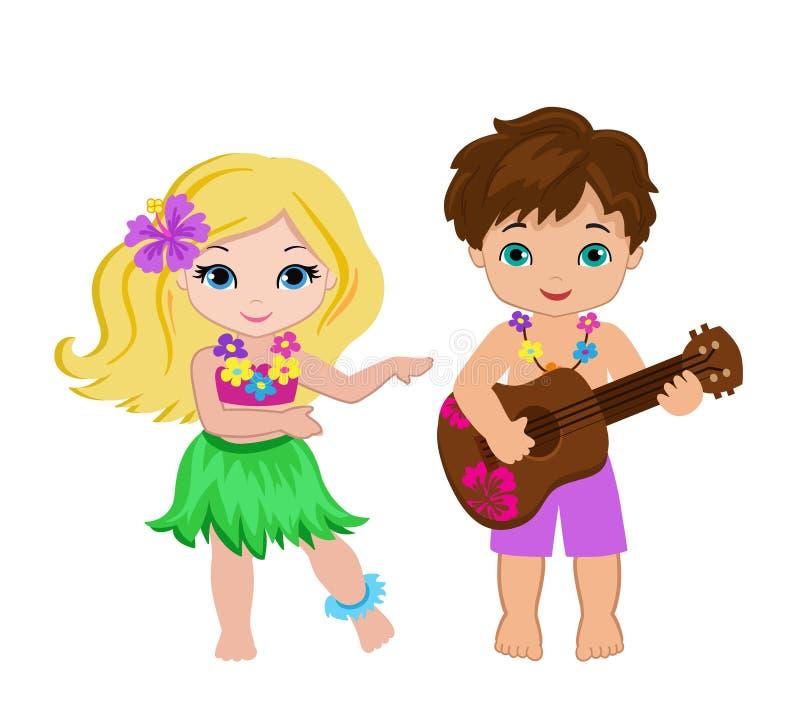 Illustration av pojken som spelar gitarr- och hawaiiboflickahuladans vektor illustrationer