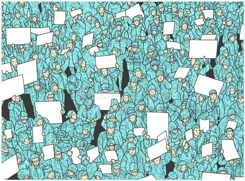 Illustration av protesten för massiv folkmassa med tomt tecken royaltyfri illustrationer