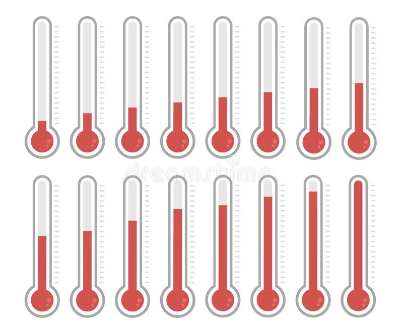 Illustration av röda termometrar med olika nivåer på vit bakgrund royaltyfri illustrationer