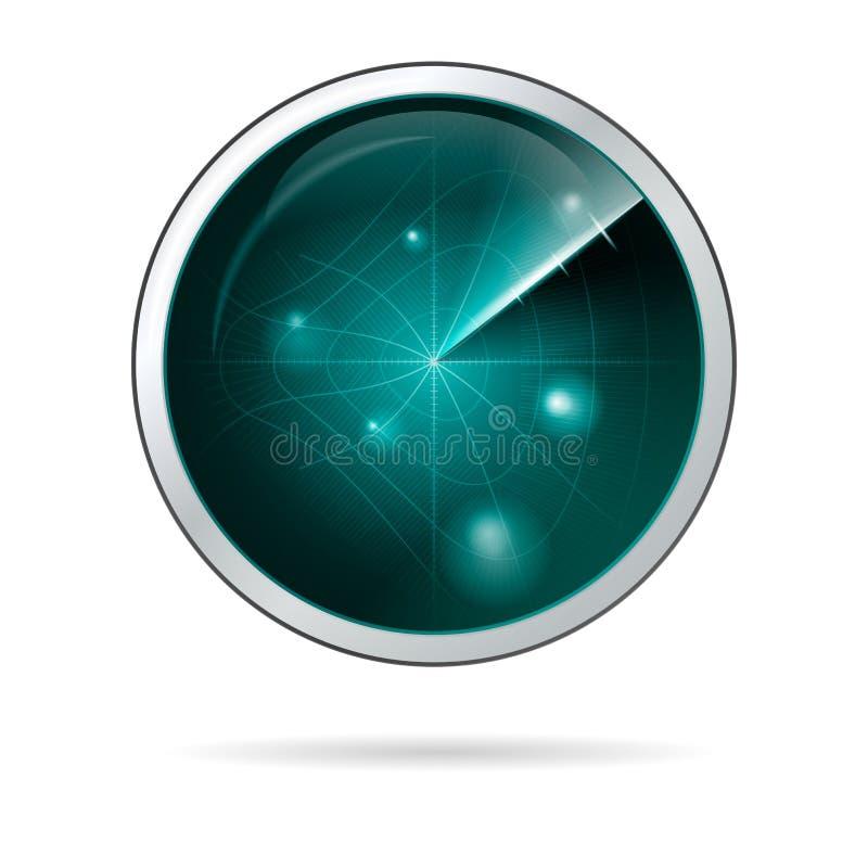 Illustration av radarskärmen med krökt raster royaltyfri illustrationer