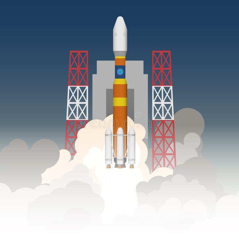 Illustration av raketlanseringen stock illustrationer