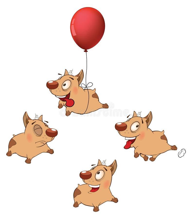 Illustration av rolig hundkapplöpning för en uppsättning cartoon stock illustrationer