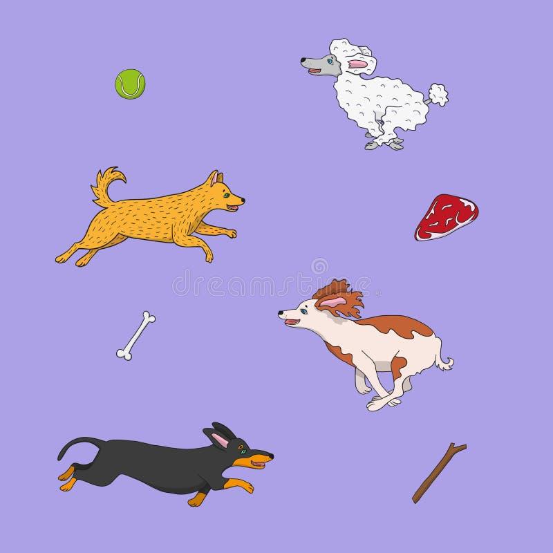 Illustration av rolig hundkapplöpning som kör till deras objekt royaltyfri illustrationer