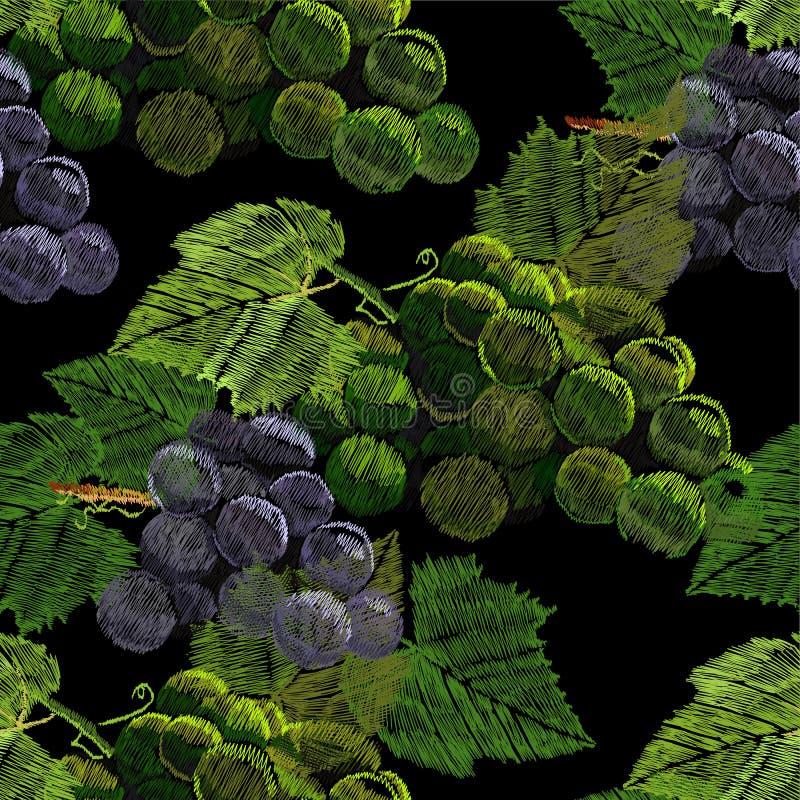 Illustration av sömlös modellbroderi, handarbete med en grupp, klunga av druvor med ett grönt blad Halsband av vektor illustrationer