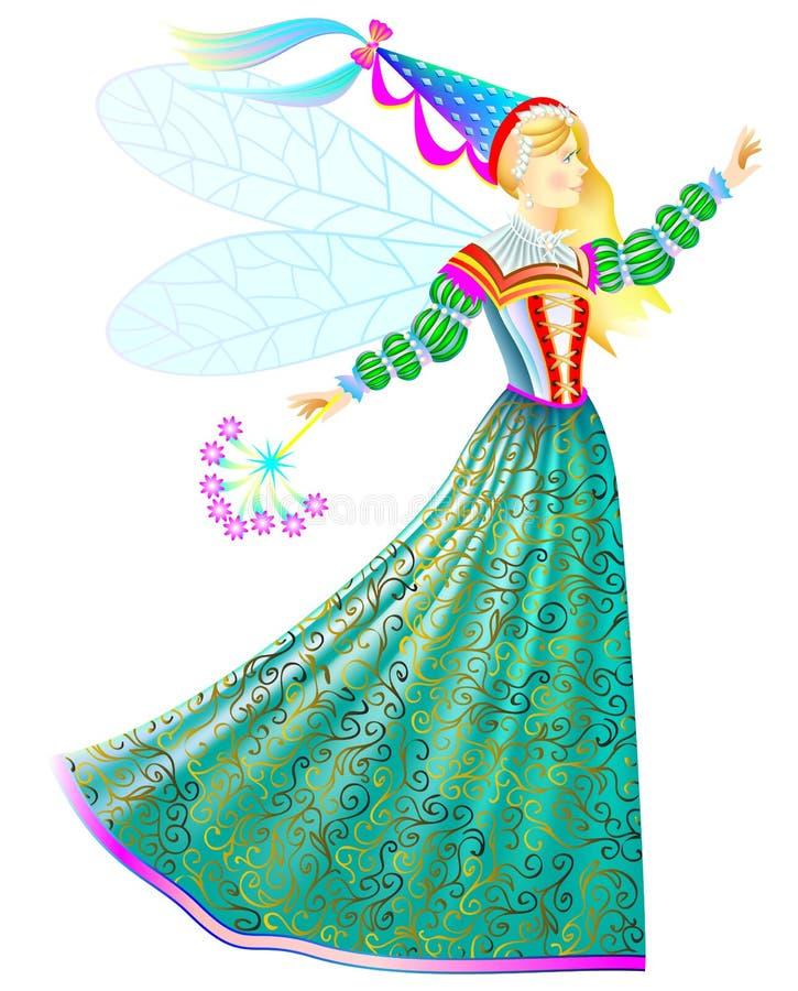 Illustration av sagaprinsessan med trollspöet i härlig medeltida klänning vektor illustrationer