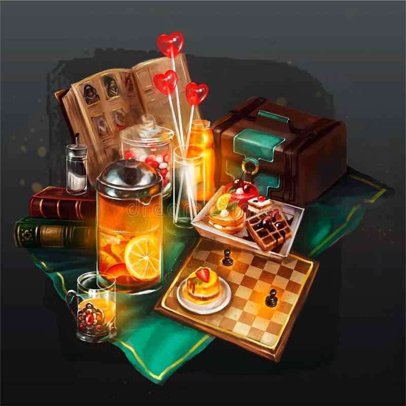 Illustration av saker som vilar på tabellen royaltyfri illustrationer