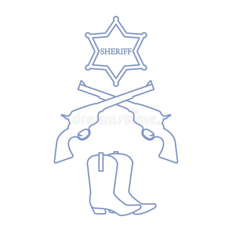 Illustration av sheriffstjärnan, revolvrar hingstföl och cowboykängor W vektor illustrationer