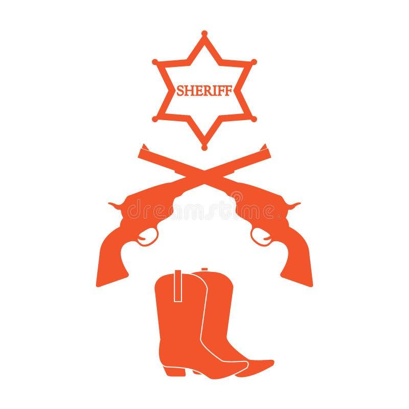 Illustration av sheriffstjärnan, revolvrar hingstföl och cowboykängor W stock illustrationer