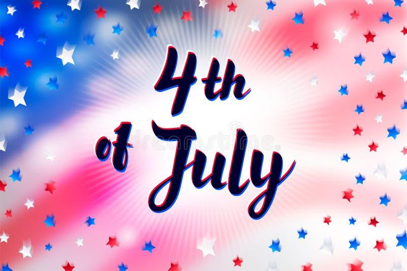 Illustration av självständighetsdagenvektoraffischen 4th av Juli pappersbokstäver på USA flaggabakgrund med stjärnor och stock illustrationer