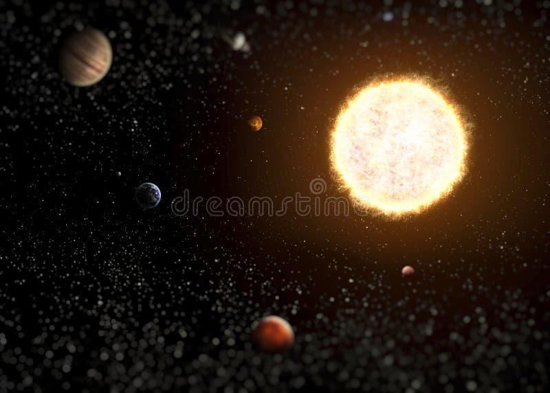Illustration av solsystemet som visar planeter royaltyfria foton