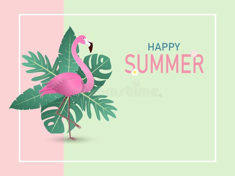 Illustration av sommarbanerbakgrund i pappers- klippt stil med flamingofågeln och gröna tropiska sidor på pastellfärgad färg stock illustrationer
