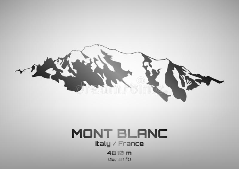 Illustration av stål Mont Blanc royaltyfri illustrationer