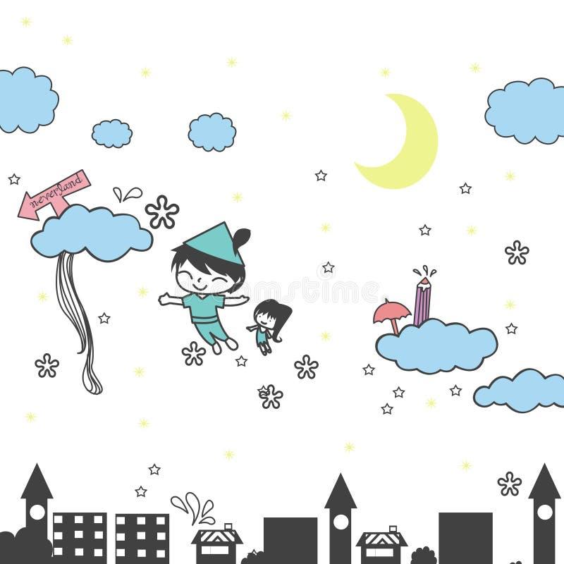 illustration av staden och barn som flygas till neverlanden stock illustrationer