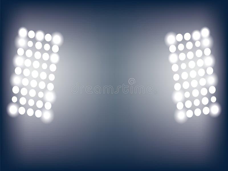 Illustration av stadionljus stock illustrationer