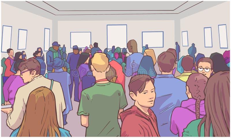 Illustration av studenter som besöker konstmusemet vektor illustrationer