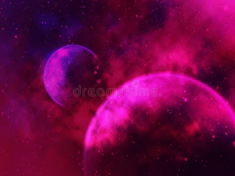 Illustration av suddig bakgrund för violetta planeter vektor illustrationer