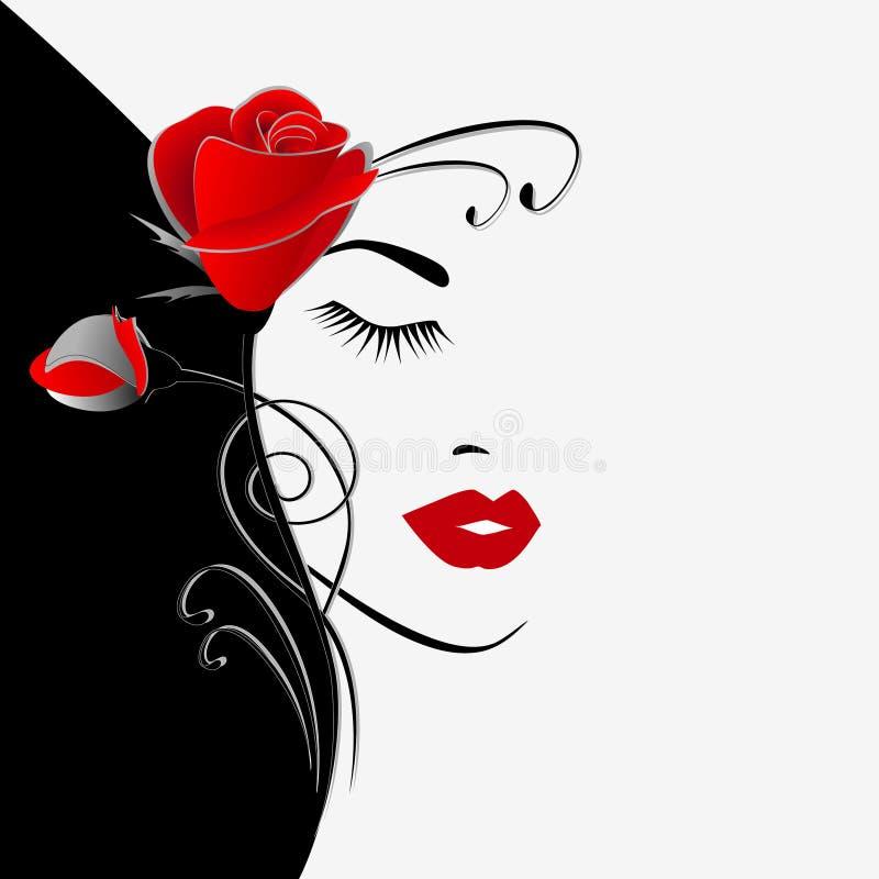 Illustration av svartvit blom- bakgrund för skönhet med en bukett av rosor och kvinnaståenden royaltyfri illustrationer