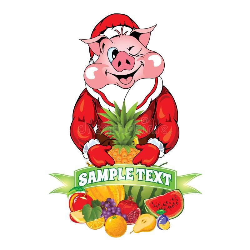 Illustration av svinet, i att bekläda Santa Claus royaltyfria foton