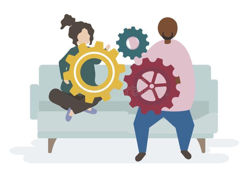 Illustration av tecken för ett par med kugghjul stock illustrationer