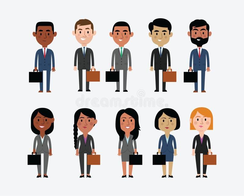 Illustration av tecken som visar affärsockupationer stock illustrationer