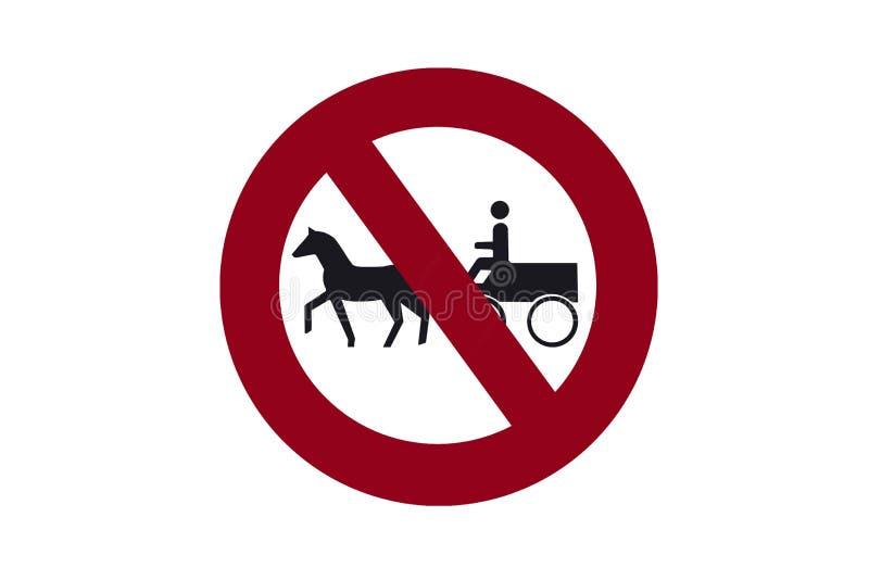 Illustration av tecknet som förbjuder rörelsen av vagnar med hästar stock illustrationer
