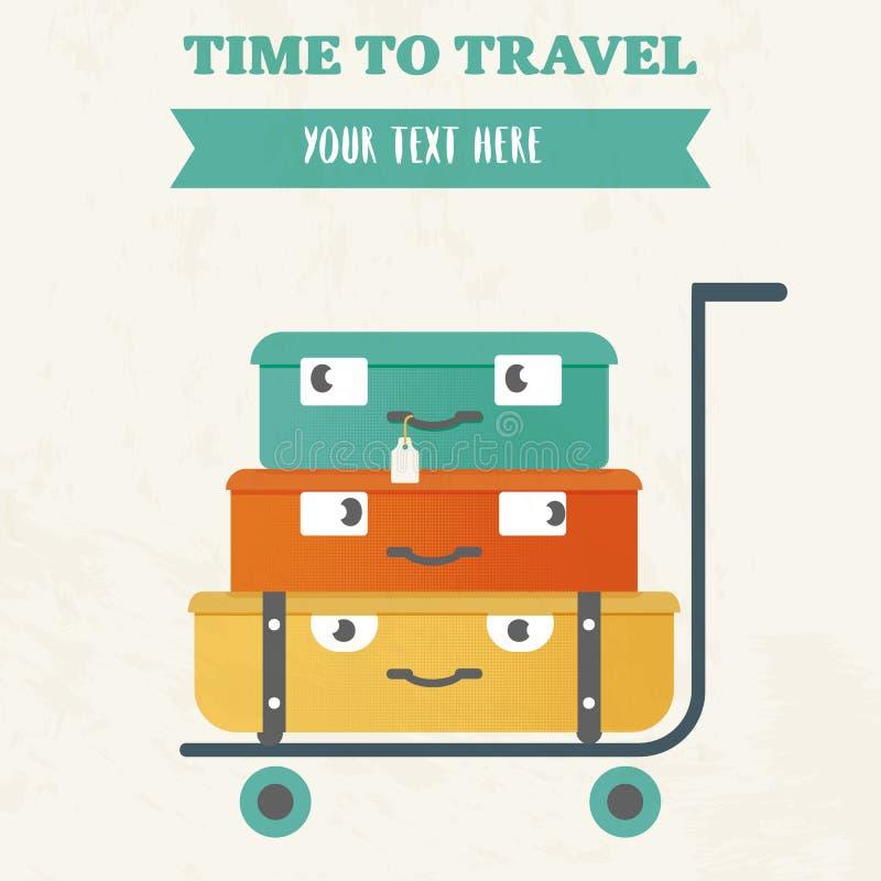 Illustration av tid att resa Gulliga tecknad filmresväskor på en spårvagn vektor illustrationer