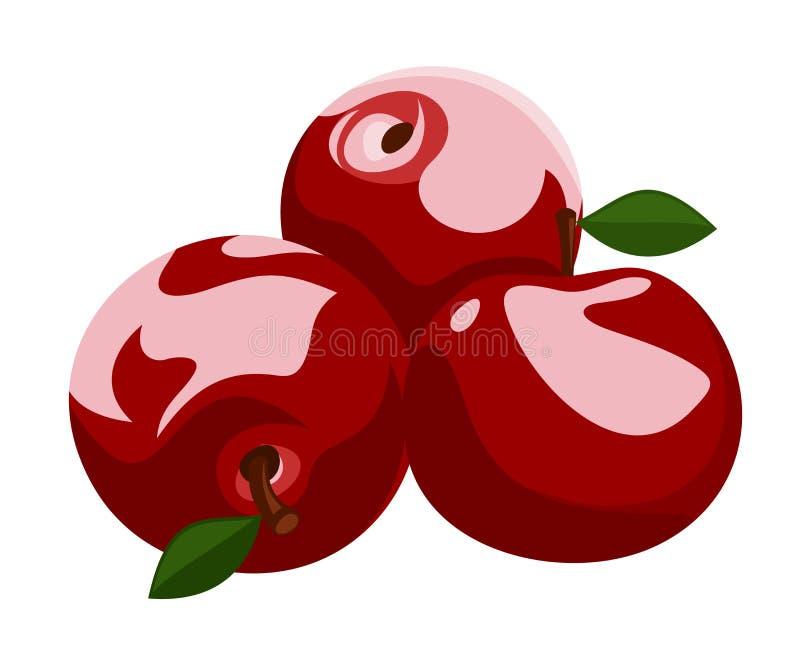Illustration av tre röda äpplen. royaltyfri illustrationer