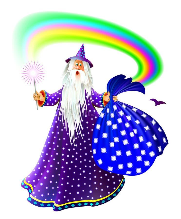 Illustration av trollkarlen med trollspöet och säcken Bokomslag för barnsaga Modernt tryck Vektortecknad filmbild vektor illustrationer