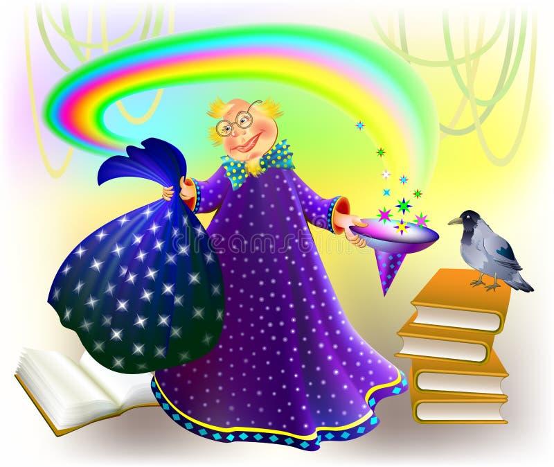 Illustration av trollkarlen som gör magi vektor illustrationer